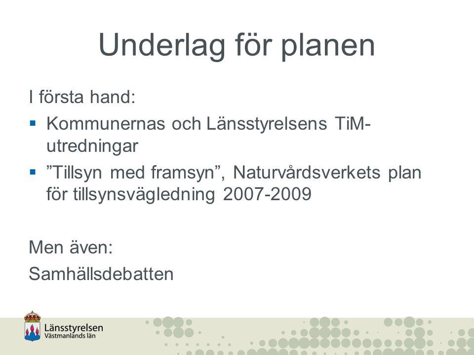 Underlag för planen I första hand:  Kommunernas och Länsstyrelsens TiM- utredningar  Tillsyn med framsyn , Naturvårdsverkets plan för tillsynsvägledning 2007-2009 Men även: Samhällsdebatten