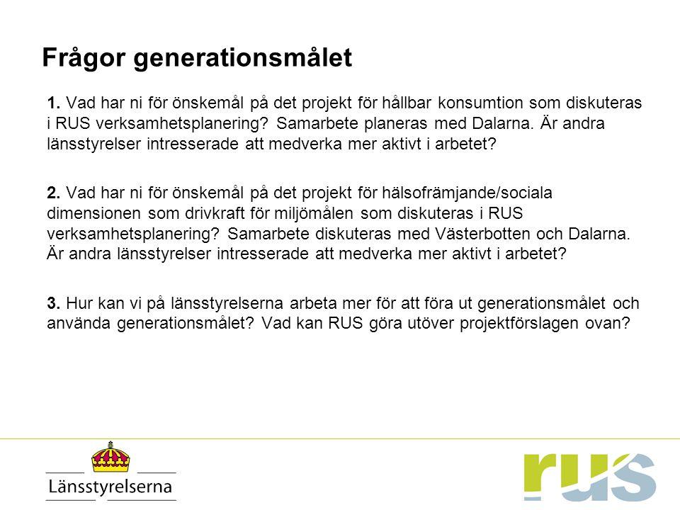 Frågor generationsmålet 1. Vad har ni för önskemål på det projekt för hållbar konsumtion som diskuteras i RUS verksamhetsplanering? Samarbete planeras