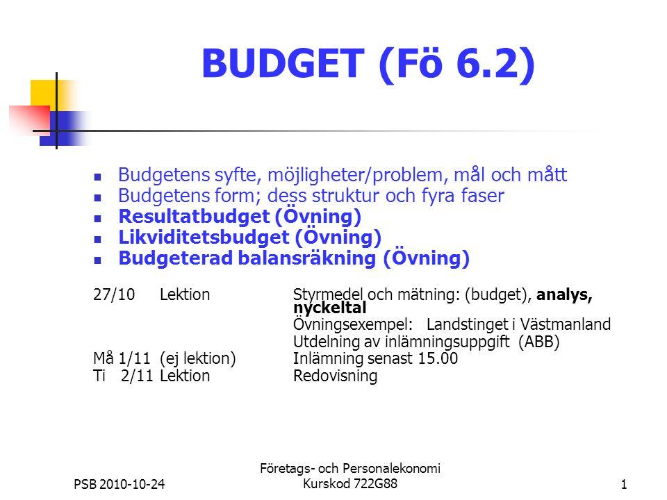 PSB 2010-10-24 Företags- och Personalekonomi Kurskod 722G881 BUDGET (Fö 6.2) Budgetens syfte, möjligheter/problem, mål och mått Budgetens form; dess s
