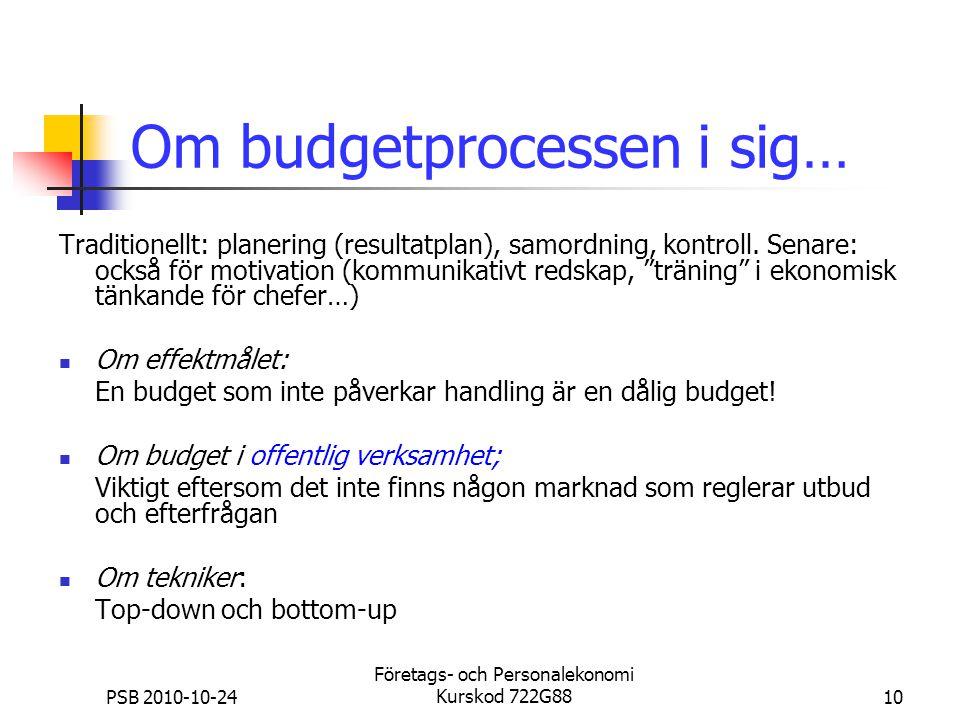 PSB 2010-10-24 Företags- och Personalekonomi Kurskod 722G8810 Om budgetprocessen i sig… Traditionellt: planering (resultatplan), samordning, kontroll.