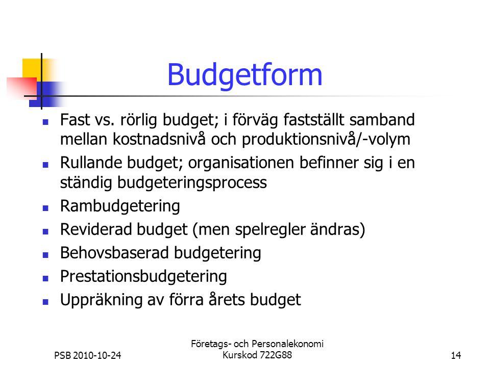 PSB 2010-10-24 Företags- och Personalekonomi Kurskod 722G8814 Budgetform Fast vs. rörlig budget; i förväg fastställt samband mellan kostnadsnivå och p