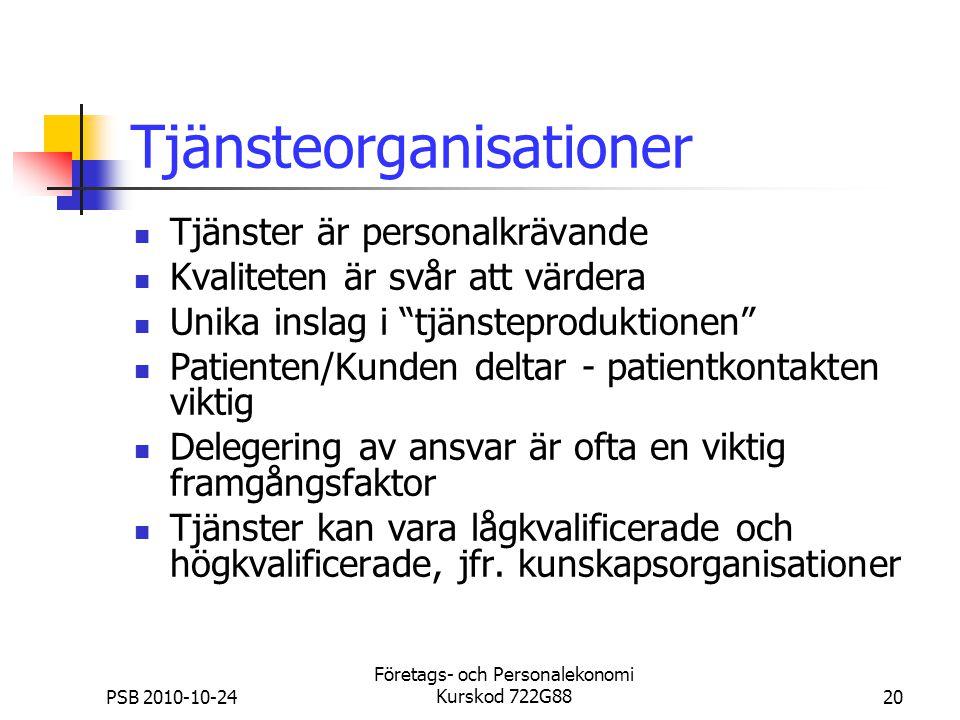 PSB 2010-10-24 Företags- och Personalekonomi Kurskod 722G8820 Tjänsteorganisationer Tjänster är personalkrävande Kvaliteten är svår att värdera Unika