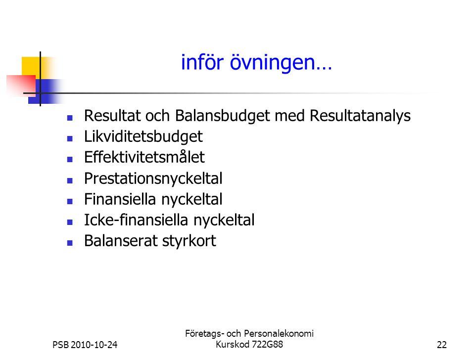 PSB 2010-10-24 Företags- och Personalekonomi Kurskod 722G8822 inför övningen… Resultat och Balansbudget med Resultatanalys Likviditetsbudget Effektivi