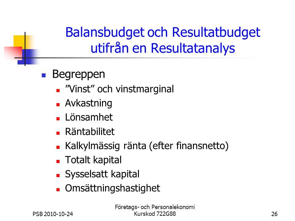 """PSB 2010-10-24 Företags- och Personalekonomi Kurskod 722G8826 Balansbudget och Resultatbudget utifrån en Resultatanalys Begreppen """"Vinst"""" och vinstmar"""