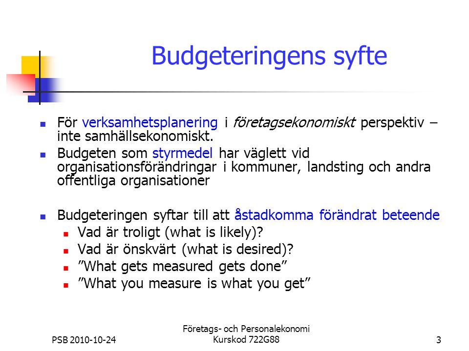 PSB 2010-10-24 Företags- och Personalekonomi Kurskod 722G883 Budgeteringens syfte För verksamhetsplanering i företagsekonomiskt perspektiv – inte samh