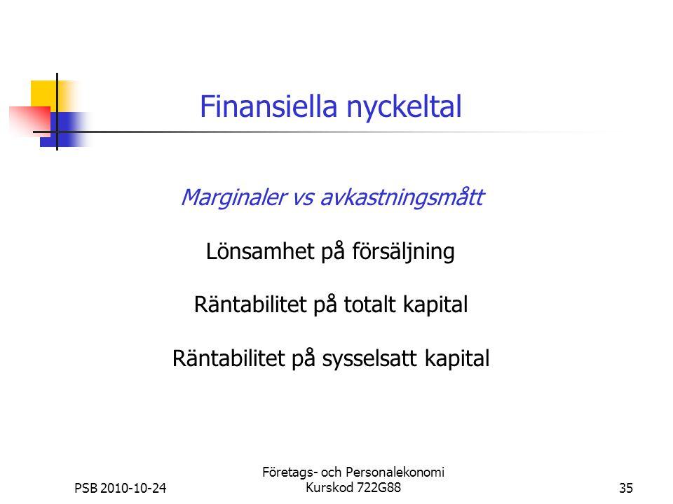 PSB 2010-10-24 Företags- och Personalekonomi Kurskod 722G8835 Marginaler vs avkastningsmått Lönsamhet på försäljning Räntabilitet på totalt kapital Rä