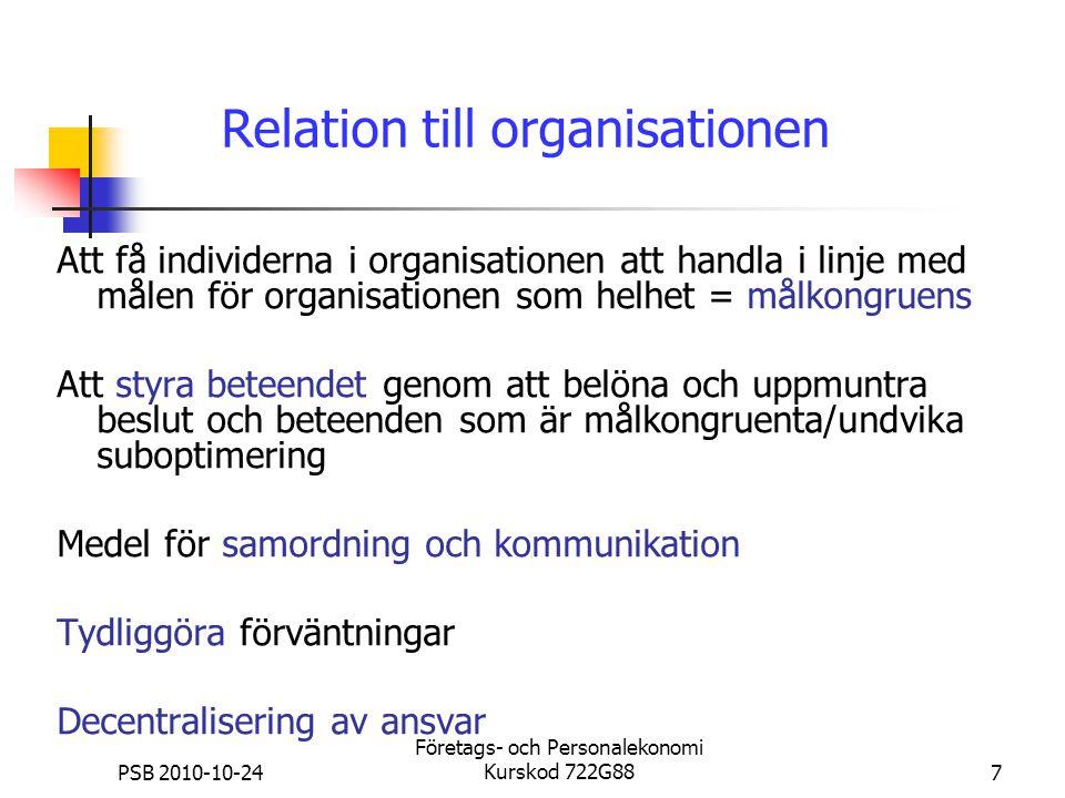 PSB 2010-10-24 Företags- och Personalekonomi Kurskod 722G887 Relation till organisationen Att få individerna i organisationen att handla i linje med m