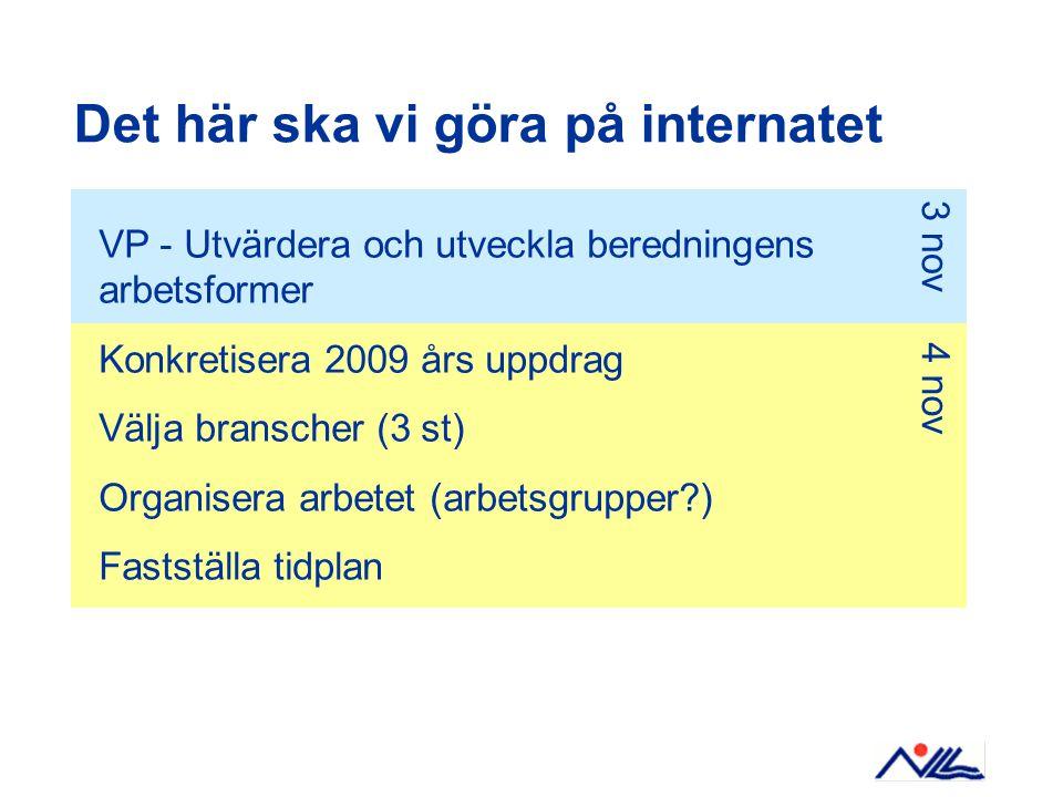 Det här ska vi göra på internatet VP - Utvärdera och utveckla beredningens arbetsformer Konkretisera 2009 års uppdrag Välja branscher (3 st) Organisera arbetet (arbetsgrupper ) Fastställa tidplan 3 nov 4 nov
