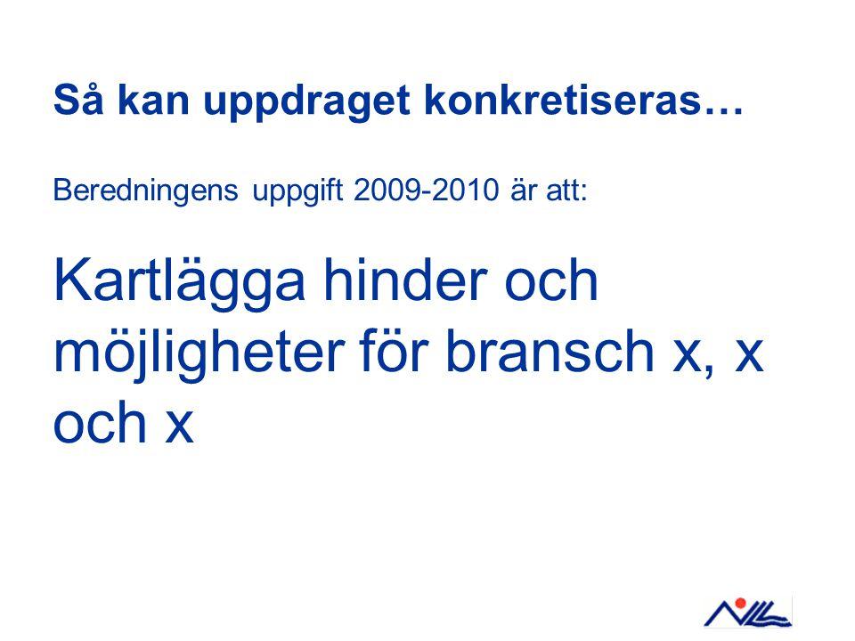 Så kan uppdraget konkretiseras… Beredningens uppgift 2009-2010 är att: Kartlägga hinder och möjligheter för bransch x, x och x