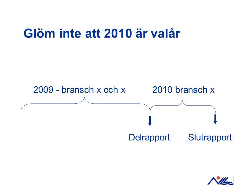 Glöm inte att 2010 är valår 2009 - bransch x och x2010 bransch x DelrapportSlutrapport