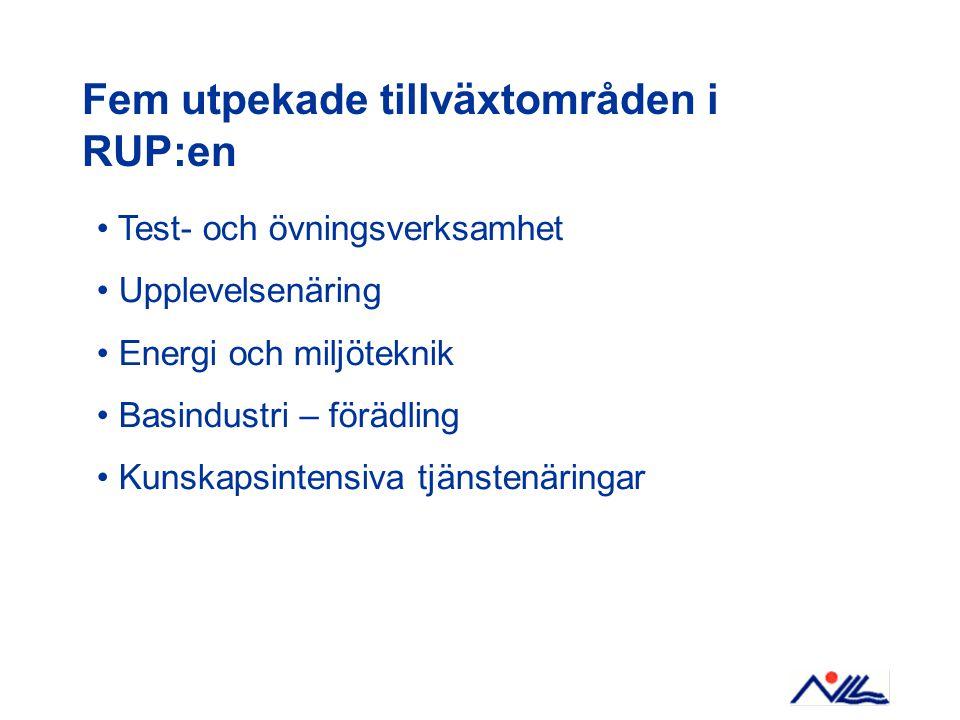 Fem utpekade tillväxtområden i RUP:en Test- och övningsverksamhet Upplevelsenäring Energi och miljöteknik Basindustri – förädling Kunskapsintensiva tjänstenäringar
