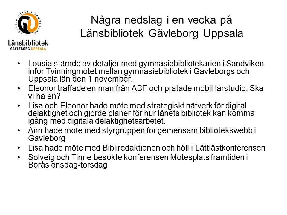 Några nedslag i en vecka på Länsbibliotek Gävleborg Uppsala Lousia stämde av detaljer med gymnasiebibliotekarien i Sandviken inför Tvinningmötet mella
