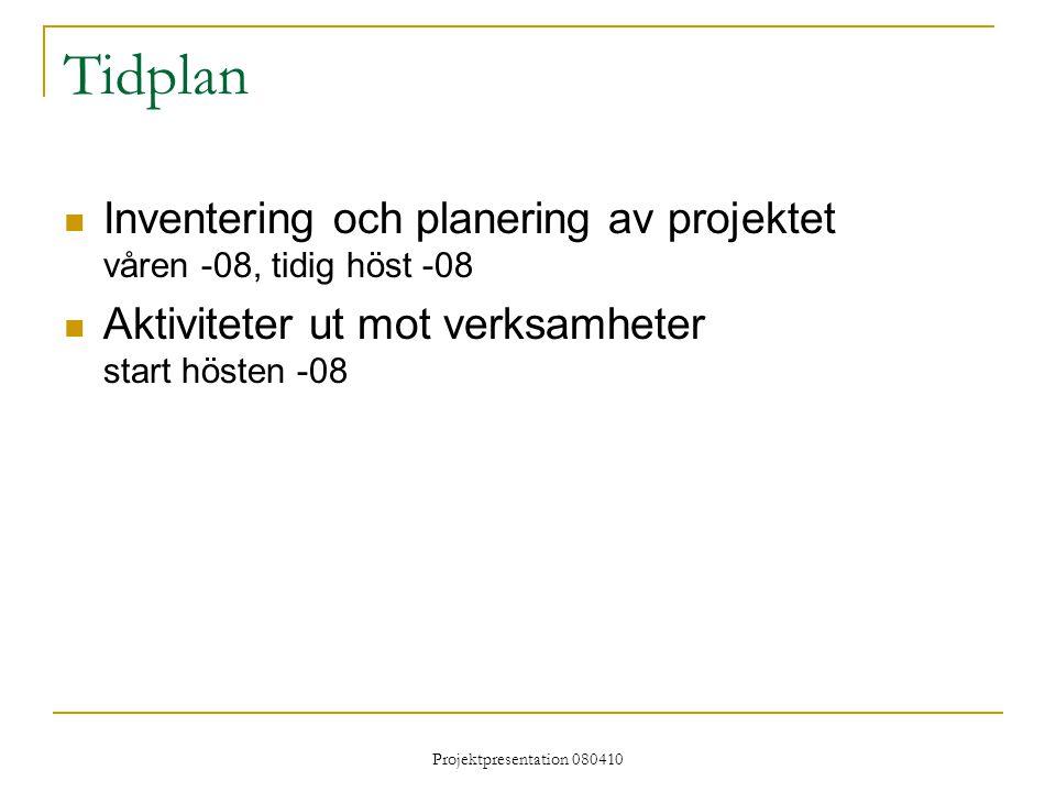 Projektpresentation 080410 Tidplan Inventering och planering av projektet våren -08, tidig höst -08 Aktiviteter ut mot verksamheter start hösten -08
