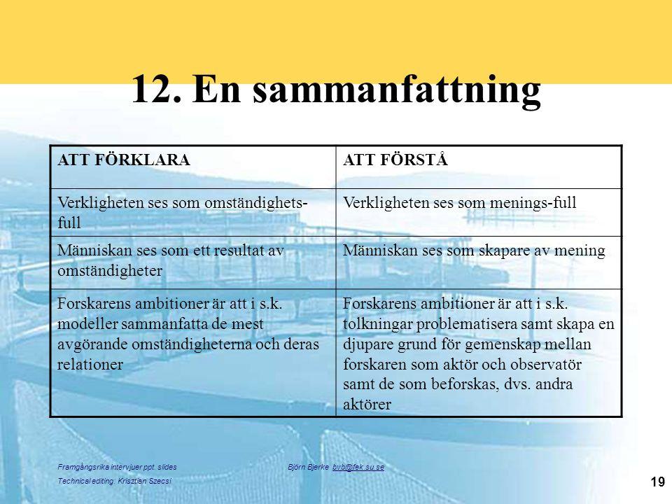 Framgångsrika intervjuer ppt. slides Technical editing: Krisztian Szecsi Björn Bjerke bvb@fek.su.se 19 12. En sammanfattning ATT FÖRKLARAATT FÖRSTÅ Ve