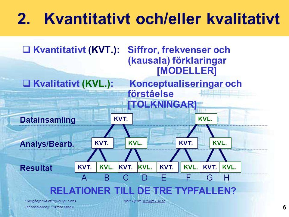 Framgångsrika intervjuer ppt. slides Technical editing: Krisztian Szecsi Björn Bjerke bvb@fek.su.se 6 2.Kvantitativt och/eller kvalitativt  Kvantitat