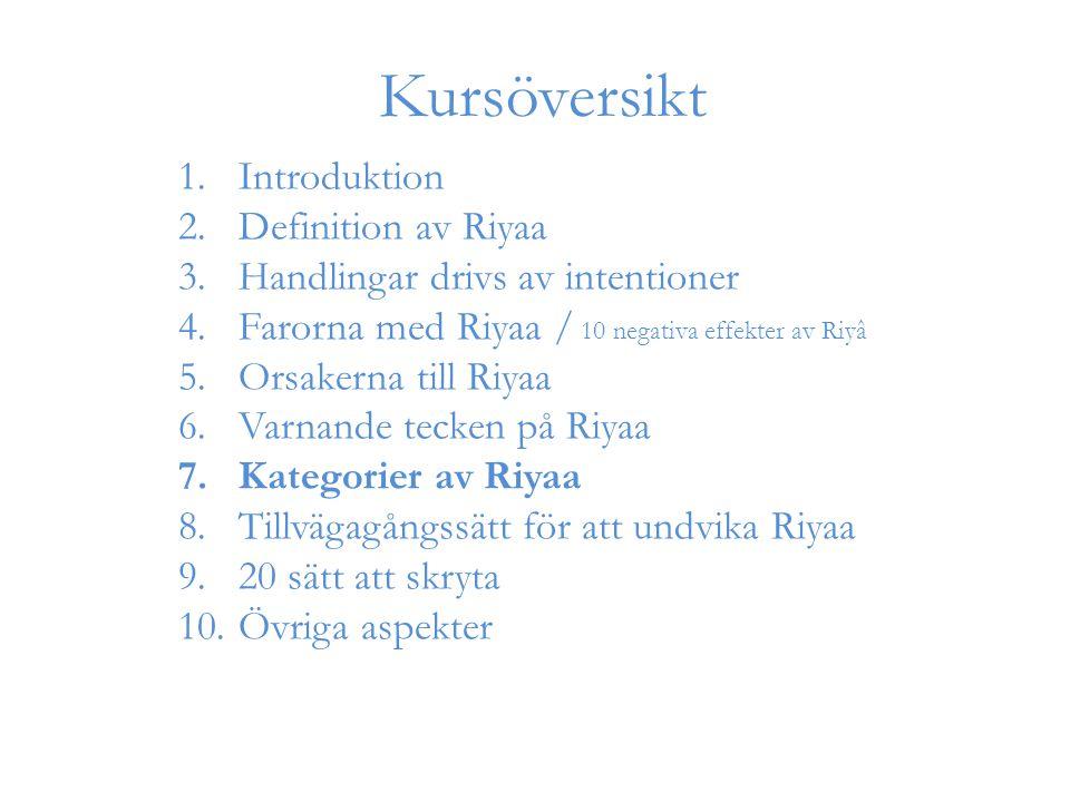 1.Introduktion 2.Definition av Riyaa 3.Handlingar drivs av intentioner 4.Farorna med Riyaa / 10 negativa effekter av Riyâ 5.Orsakerna till Riyaa 6.Var