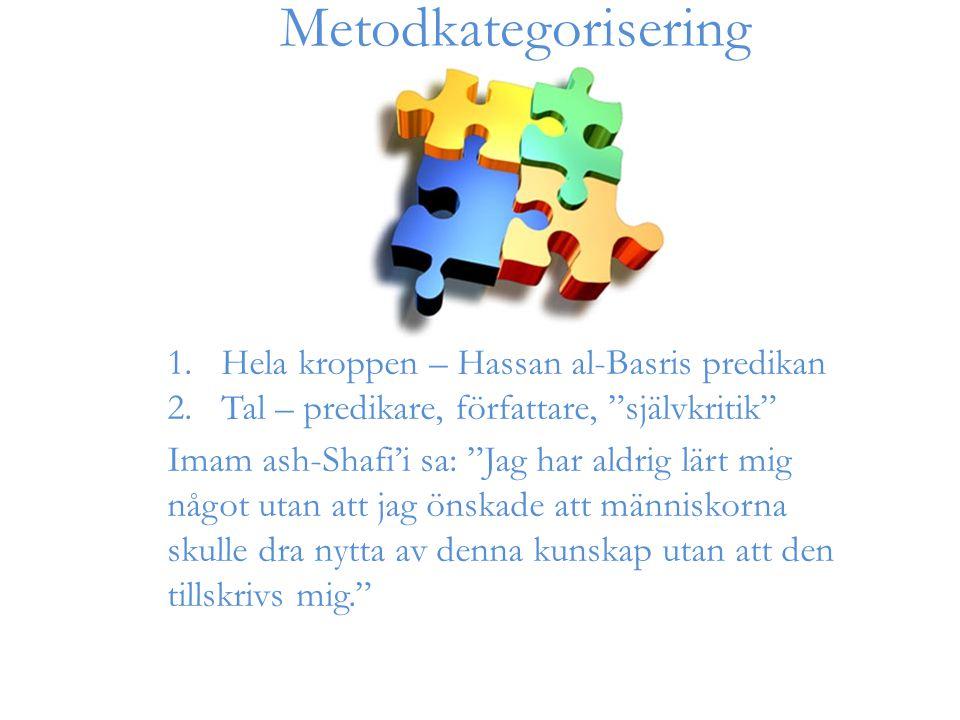 1.Hela kroppen – Hassan al-Basris predikan 2.Tal – predikare, författare, självkritik Imam ash-Shafi'i sa: Jag har aldrig lärt mig något utan att jag önskade att människorna skulle dra nytta av denna kunskap utan att den tillskrivs mig. Metodkategorisering