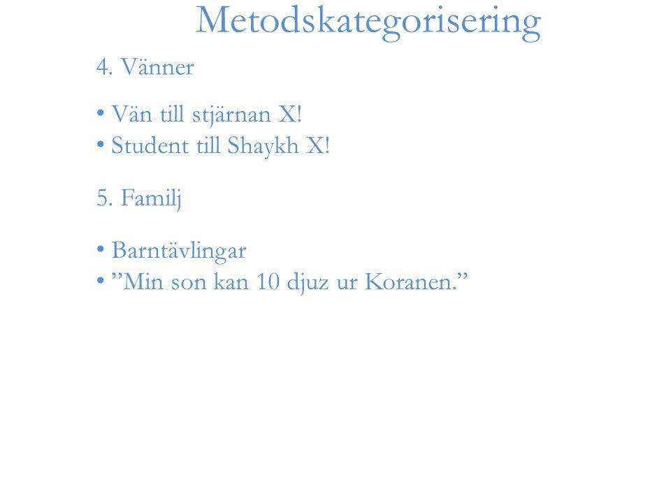 Metodskategorisering 4. Vänner Vän till stjärnan X.