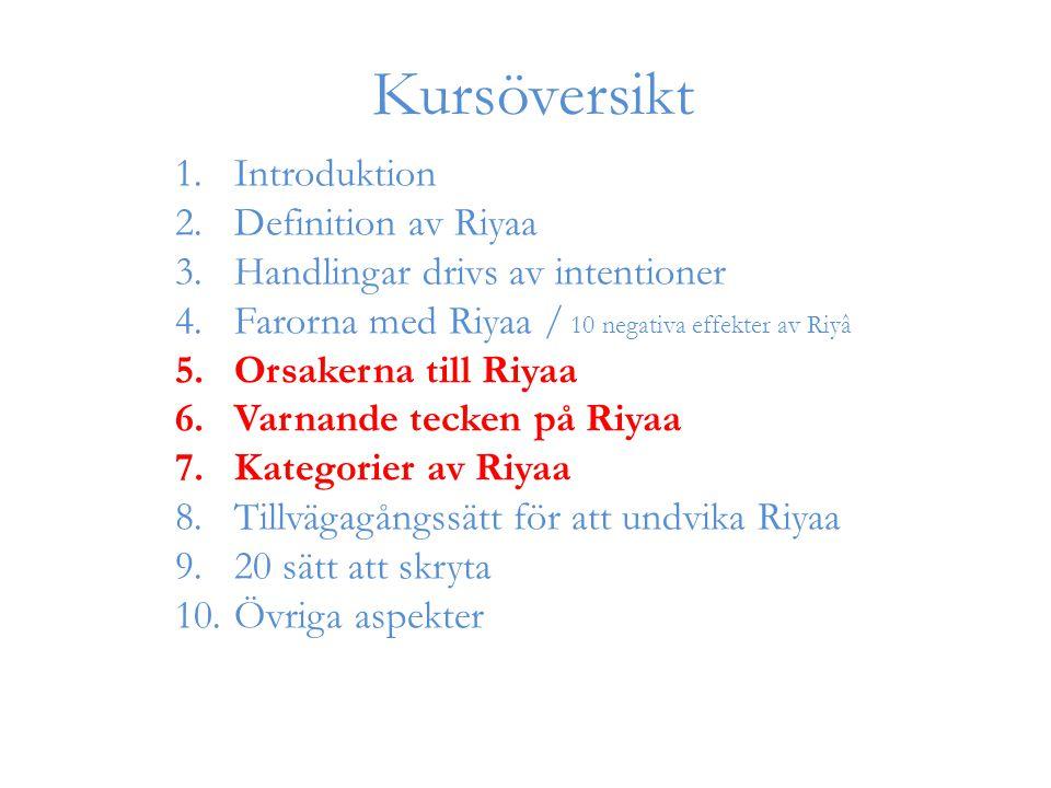 1.Introduktion 2.Definition av Riyaa 3.Handlingar drivs av intentioner 4.Farorna med Riyaa / 10 negativa effekter av Riyâ 5.Orsakerna till Riyaa 6.Varnande tecken på Riyaa 7.Kategorier av Riyaa 8.Tillvägagångssätt för att undvika Riyaa 9.20 sätt att skryta 10.Övriga aspekter Kursöversikt