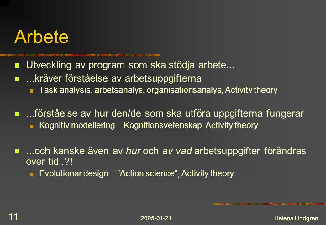 2005-01-21Helena Lindgren 11 Arbete Utveckling av program som ska stödja arbete......kräver förståelse av arbetsuppgifterna Task analysis, arbetsanalys, organisationsanalys, Activity theory...förståelse av hur den/de som ska utföra uppgifterna fungerar Kognitiv modellering – Kognitionsvetenskap, Activity theory...och kanske även av hur och av vad arbetsuppgifter förändras över tid.. .