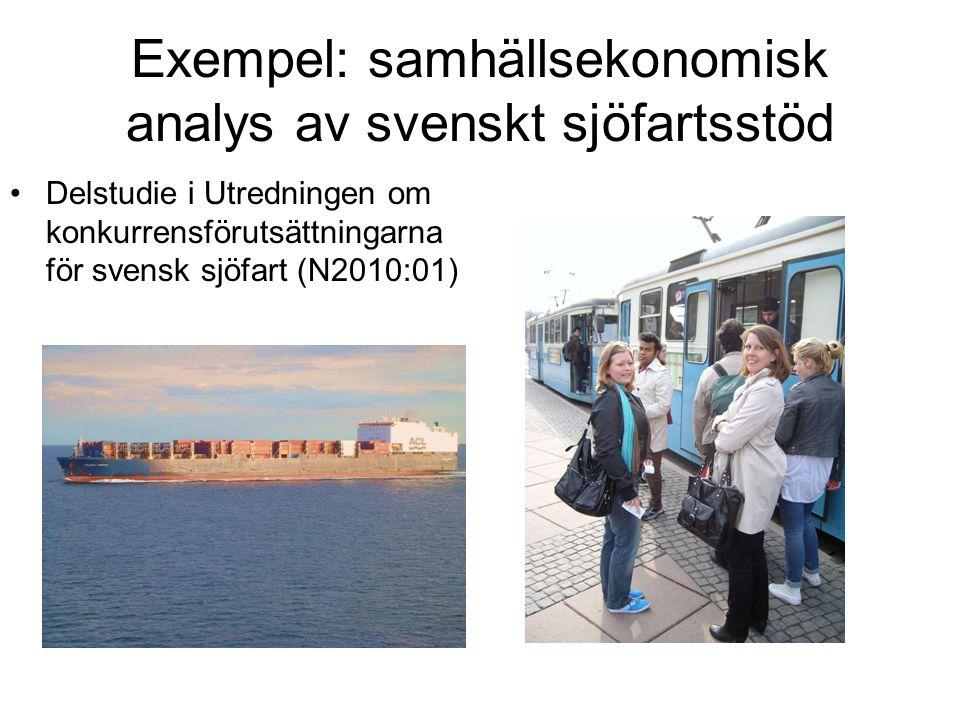 Exempel: samhällsekonomisk analys av svenskt sjöfartsstöd Delstudie i Utredningen om konkurrensförutsättningarna för svensk sjöfart (N2010:01)