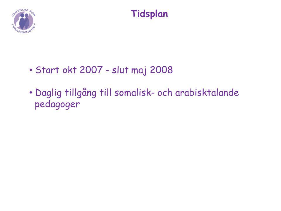 Tidsplan Start okt 2007 - slut maj 2008 Daglig tillgång till somalisk- och arabisktalande pedagoger