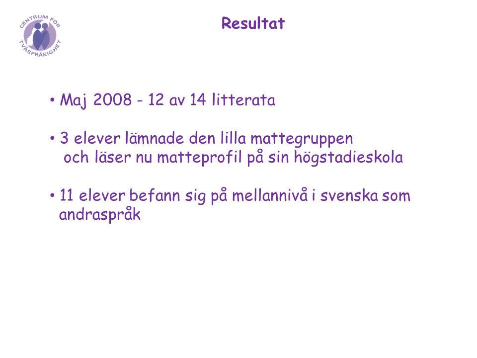 Resultat Maj 2008 - 12 av 14 litterata 3 elever lämnade den lilla mattegruppen och läser nu matteprofil på sin högstadieskola 11 elever befann sig på mellannivå i svenska som andraspråk