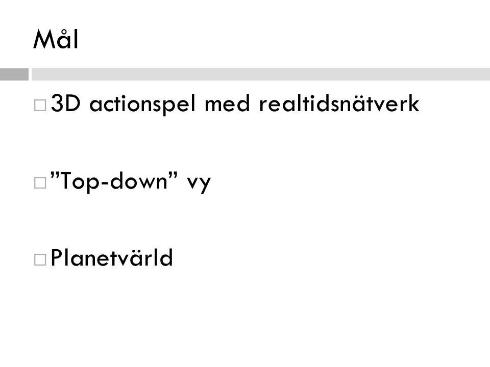 """Mål  3D actionspel med realtidsnätverk  """"Top-down"""" vy  Planetvärld"""