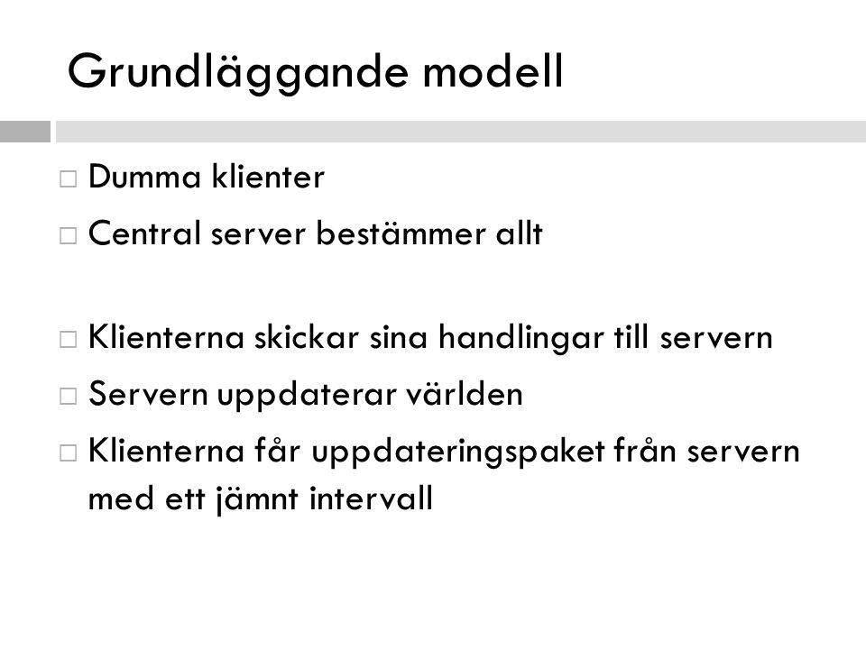 Grundläggande modell  Dumma klienter  Central server bestämmer allt  Klienterna skickar sina handlingar till servern  Servern uppdaterar världen 
