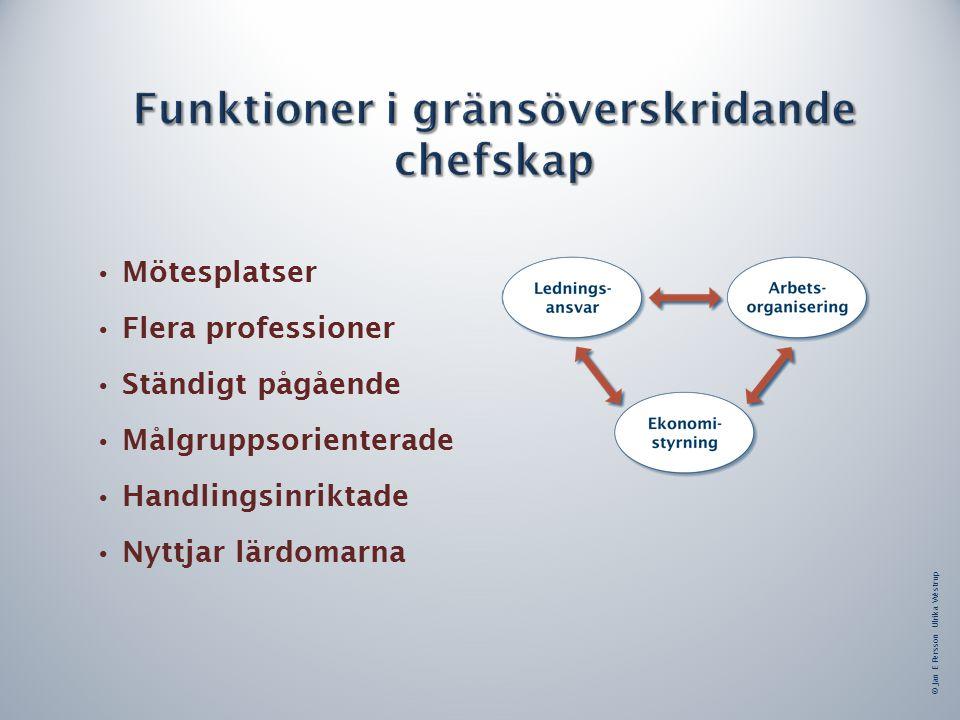 © Jan E Persson Ulrika Westrup Mötesplatser Flera professioner Ständigt pågående Målgruppsorienterade Handlingsinriktade Nyttjar lärdomarna