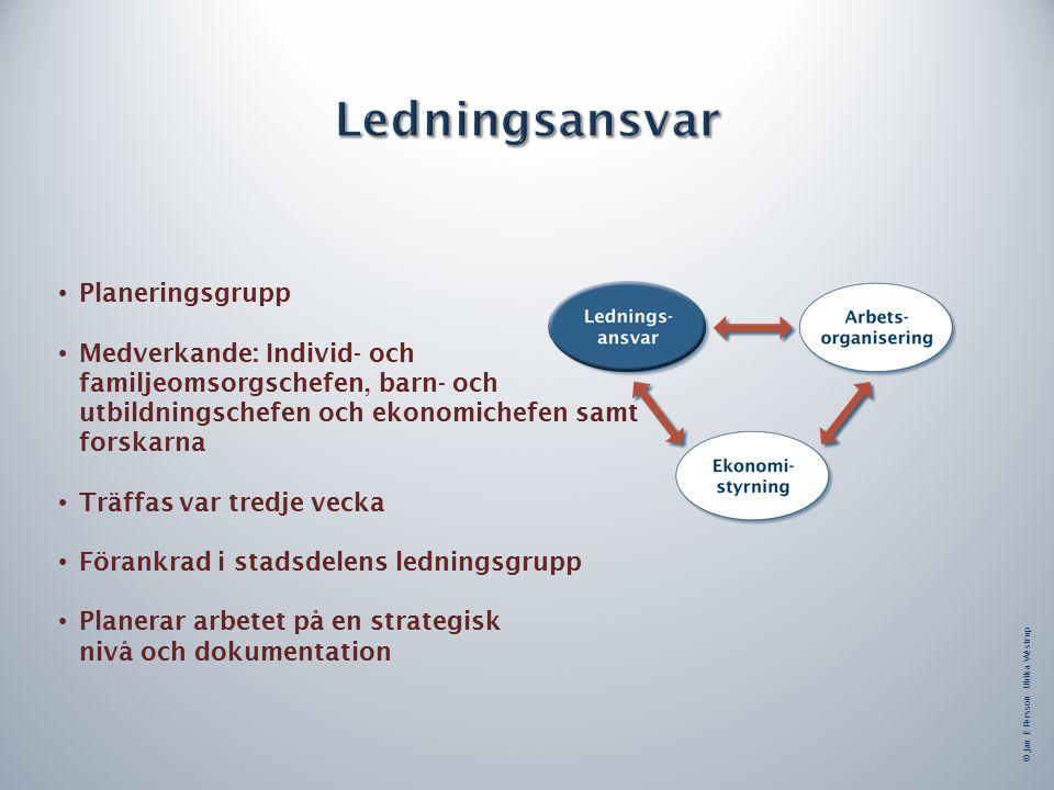 © Jan E Persson Ulrika Westrup Planeringsgrupp Medverkande: Individ- och familjeomsorgschefen, barn- och utbildningschefen och ekonomichefen samt forskarna Träffas var tredje vecka Förankrad i stadsdelens ledningsgrupp Planerar arbetet på en strategisk nivå och dokumentation