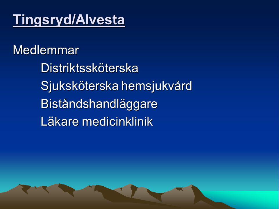 Tingsryd/Alvesta MedlemmarDistriktssköterska Sjuksköterska hemsjukvård Biståndshandläggare Läkare medicinklinik