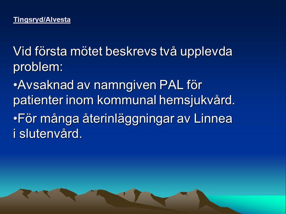 Tingsryd/Alvesta Vid första mötet beskrevs två upplevda problem: Avsaknad av namngiven PAL för patienter inom kommunal hemsjukvård.Avsaknad av namngiven PAL för patienter inom kommunal hemsjukvård.