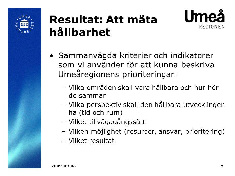 2009-09-035 Resultat: Att mäta hållbarhet Sammanvägda kriterier och indikatorer som vi använder för att kunna beskriva Umeåregionens prioriteringar: –