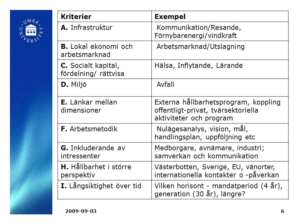 2009-09-036 KriterierExempel A. Infrastruktur Kommunikation/Resande, Förnybarenergi/vindkraft B. Lokal ekonomi och arbetsmarknad Arbetsmarknad/Utslagn