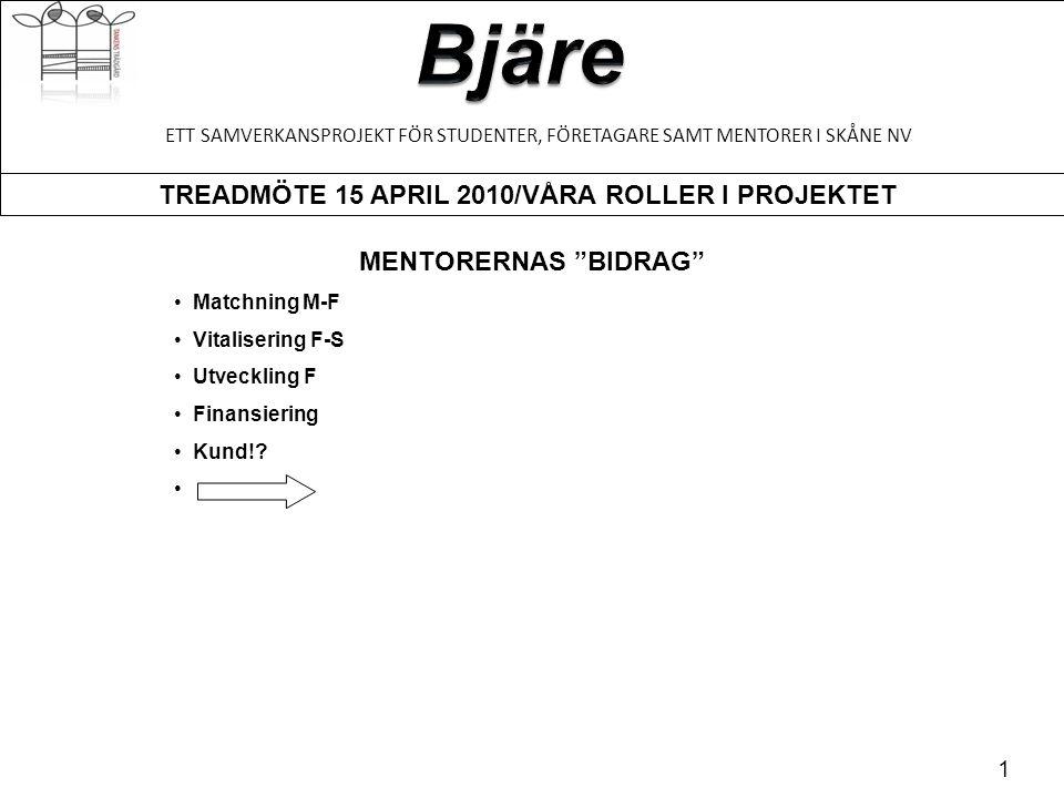 TREADMÖTE 15 APRIL 2010/VÅRA ROLLER I PROJEKTET 2 ETT SAMVERKANSPROJEKT FÖR STUDENTER, FÖRETAGARE SAMT MENTORER I SKÅNE NV FÖRETAGARNAS ÖNSKEMÅL - Uppnå mål - Hur ta betalt - Kanalisera idéer och visioner - Strategi (långsiktiga) - Öka omsättningen - Anställd(a) Lotta Björk, Trädgårdsmästare Jessica Antonsson, Fri Tid