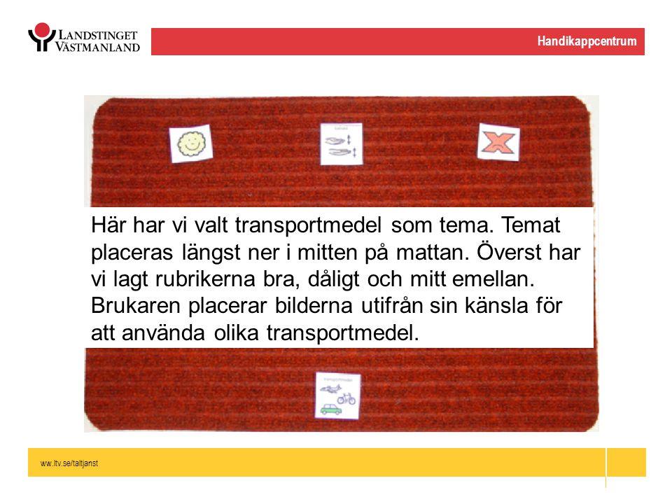 ww.ltv.se/taltjanst Handikappcentrum Här har vi valt transportmedel som tema. Temat placeras längst ner i mitten på mattan. Överst har vi lagt rubrike