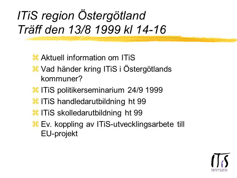 ITiS region Östergötland Träff den 13/8 1999 kl 14-16 zAktuell information om ITiS zVad händer kring ITiS i Östergötlands kommuner.