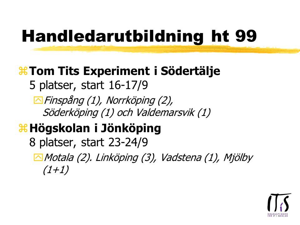 Handledarutbildning ht 99 zTom Tits Experiment i Södertälje 5 platser, start 16-17/9 yFinspång (1), Norrköping (2), Söderköping (1) och Valdemarsvik (1) zHögskolan i Jönköping 8 platser, start 23-24/9 yMotala (2).