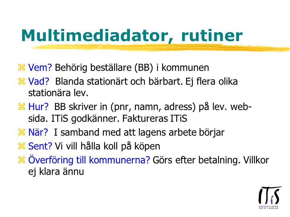Multimediadator, rutiner zVem. Behörig beställare (BB) i kommunen zVad.