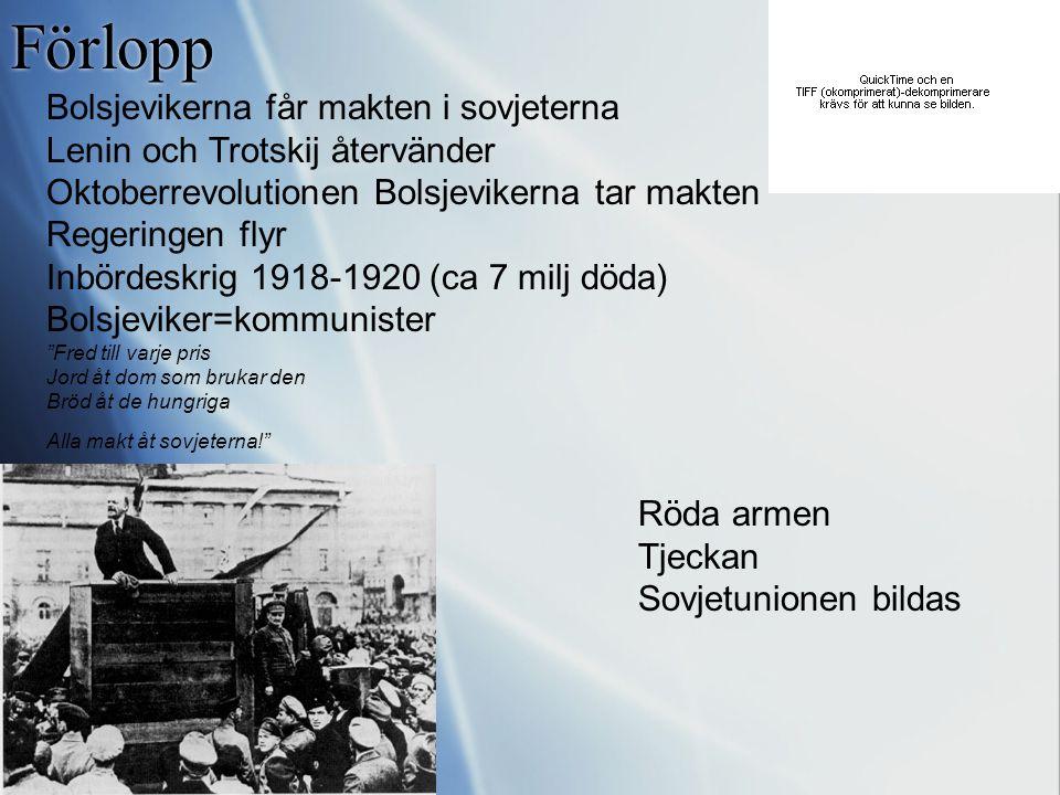 Förlopp 1917 Upplopp i Petrograd (St Petersburg) Revolutionsivrare Sovjeter (arbetarråd) Revolutionen sprider sig Tsaren abdikerar Tsarfamiljen avrätt
