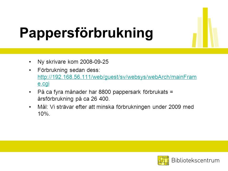 Pappersförbrukning Ny skrivare kom 2008-09-25 Förbrukning sedan dess: http://192.168.56.111/web/guest/sv/websys/webArch/mainFram e.cgi http://192.168.56.111/web/guest/sv/websys/webArch/mainFram e.cgi På ca fyra månader har 8800 pappersark förbrukats = årsförbrukning på ca 26 400.