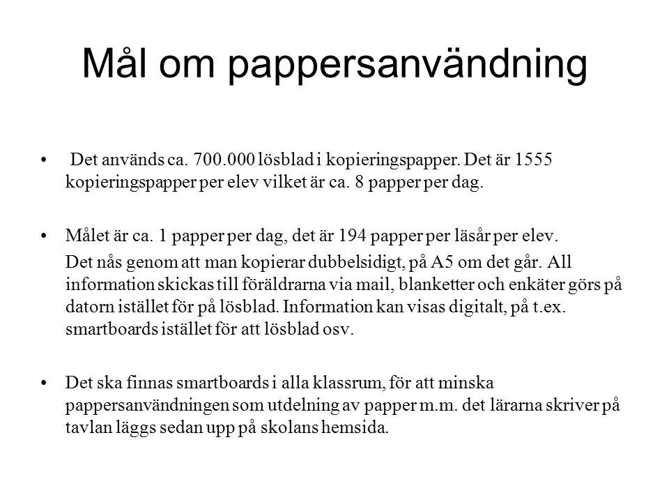 Mål om pappersanvändning Det används ca. 700.000 lösblad i kopieringspapper.