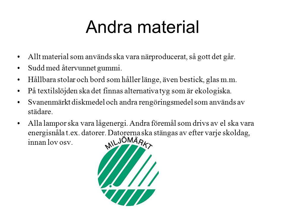 Andra material Allt material som används ska vara närproducerat, så gott det går.