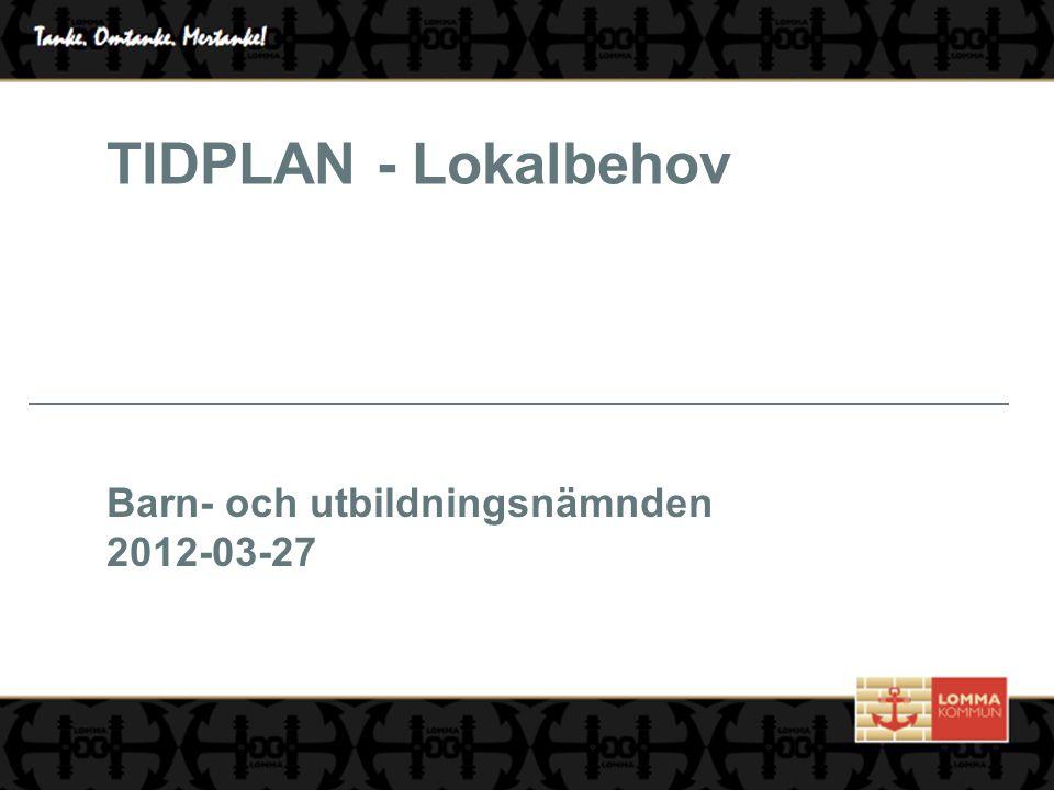 TIDPLAN - Lokalbehov Barn- och utbildningsnämnden 2012-03-27