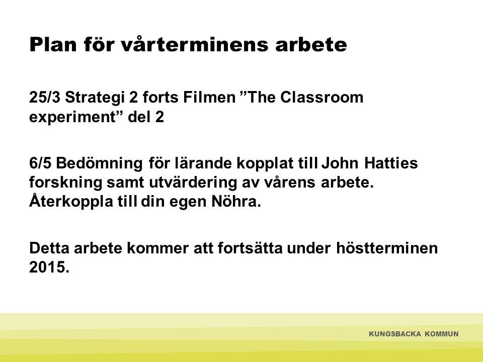 Plan för vårterminens arbete 25/3 Strategi 2 forts Filmen The Classroom experiment del 2 6/5 Bedömning för lärande kopplat till John Hatties forskning samt utvärdering av vårens arbete.