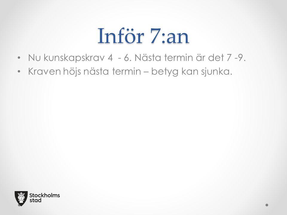 Inför 7:an Nu kunskapskrav 4 - 6. Nästa termin är det 7 -9. Kraven höjs nästa termin – betyg kan sjunka.
