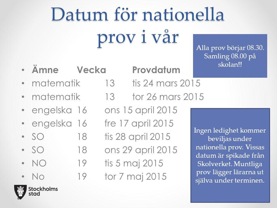 Datum för nationella prov i vår ÄmneVeckaProvdatum matematik13tis 24 mars 2015 matematik13tor 26 mars 2015 engelska16ons 15 april 2015 engelska16fre 1