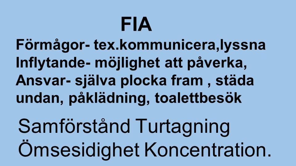 FIA Förmågor- tex.kommunicera,lyssna Inflytande- möjlighet att påverka, Ansvar- själva plocka fram, städa undan, påklädning, toalettbesök Samförstånd Turtagning Ömsesidighet Koncentration.