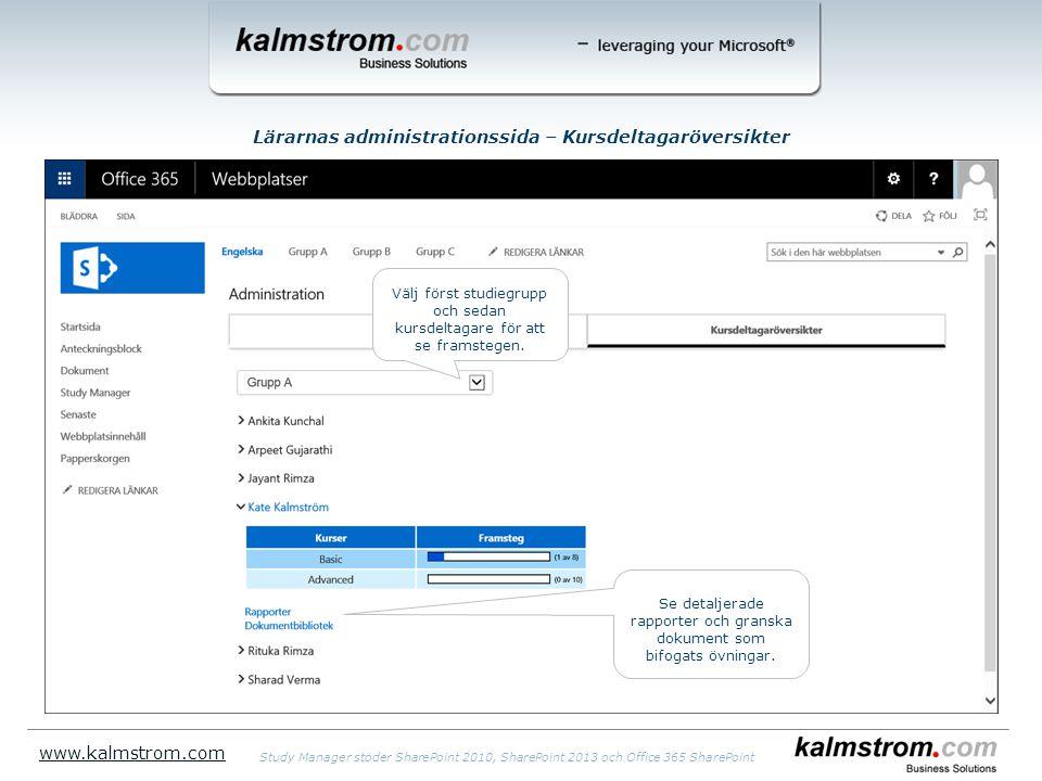 Lärarnas administrationssida – Kursdeltagaröversikter www.kalmstrom.com Välj först studiegrupp och sedan kursdeltagare för att se framstegen.